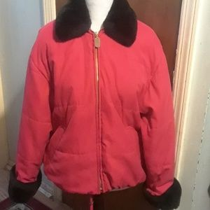 Red winter coat, size 8